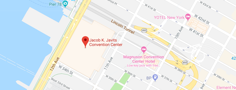 Map showing location of Jacob K. Javits Convention Center